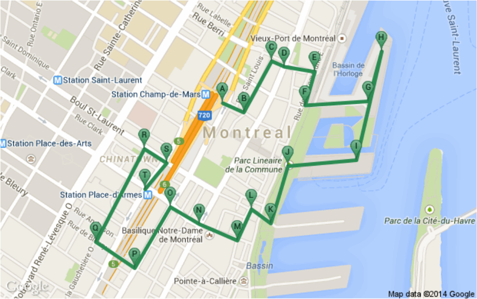 OLD MONTREAL AND CHINA TOWN Half Hour Before Sunset MONTREAL - Old montreal map